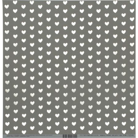 Bazzill Foiled Pattern - Heart W/White, Rock Candy - 300694