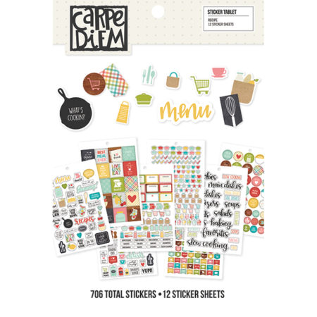 Simple Stories Carpe Diem A5 Tablets Stickers Recipe