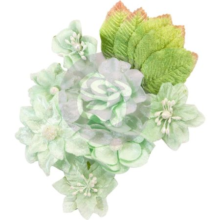 Prima - Santa Baby Fabric Flowers - Frosted Mint - 597744
