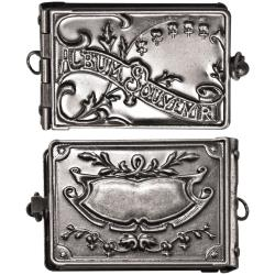 "Tim Holtz - Metal Locket Book W/Kraft Accordion Pages Antique Nickel 2""X1"""