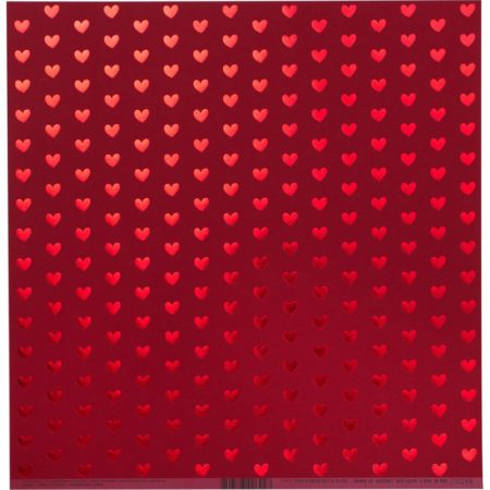 Bazzill Foiled Pattern - Heart W/Red, Red Hots - 300692