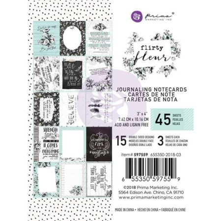 "Prima - Flirty Fleur Journaling Cards Pad 3""X4""- 597559"