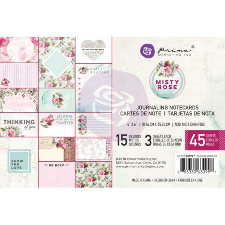 "Prima - Misty Rose Journaling Cards Pad 4""X6"" - 630997"