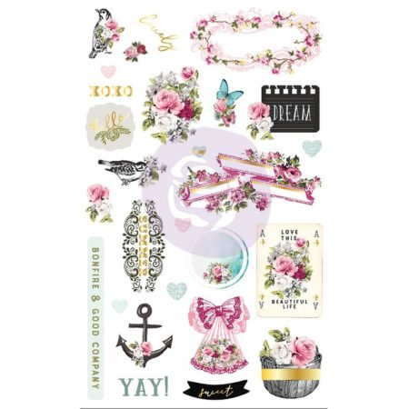 Prima - Misty Rose Ephemera & Stickers - 631017