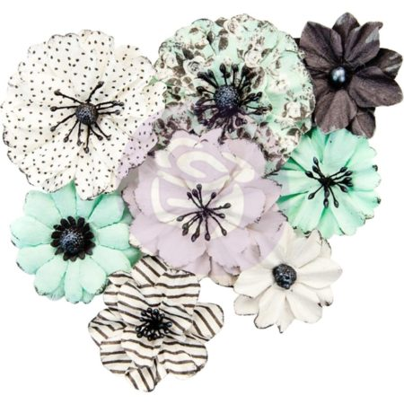 Prima - Flirty Fleur Mulberry Paper Flower - Grey & Mint - 634469