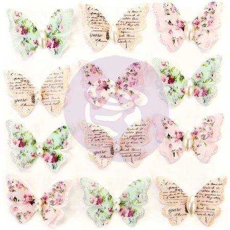 Prima - Misty Rose Mulberry Paper Butterflies - Taylor - 634667