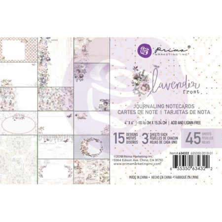 "Prima - Lavender Frost - Journaling Cards Pad 4""X6"""