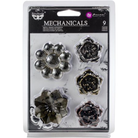 "Prima Finnabair Mechanicals Metal Embellishments Flowers 1.5""- 2"""