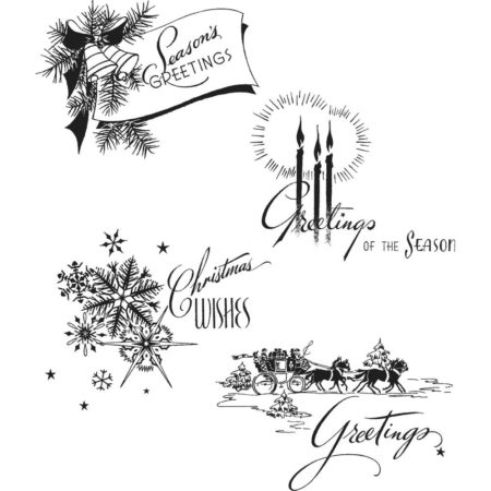 Tim Holtz Cling Stamps set - Holiday Greetings - CMS353