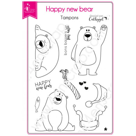 4enscrap Stamp - Happy new bear - SET 123