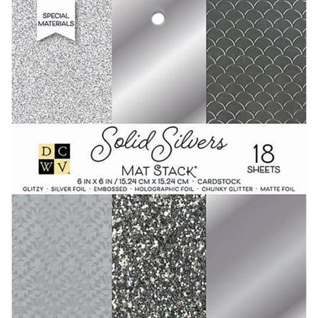 DCWV Single-Sided Cardstock Stack - Solid Silvers - PS-006-00136
