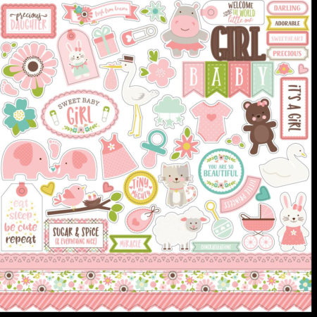 Echo Park - Sweet Baby Girl Cardstock Stickers - SBG142014