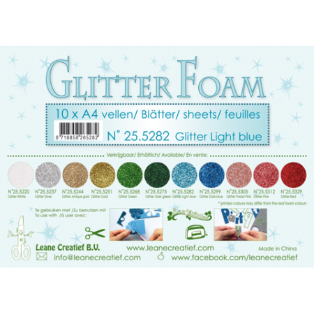 LEANE GLITTER FOAM A4 - Light Blue - 25.5285