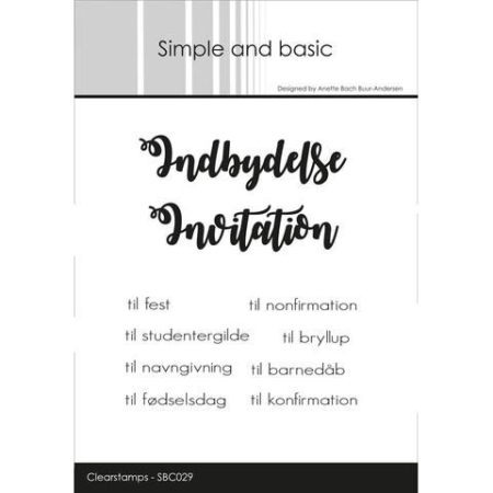 Simple and Basic Stempel - Indbydelse/Invitation til.. - SBC029