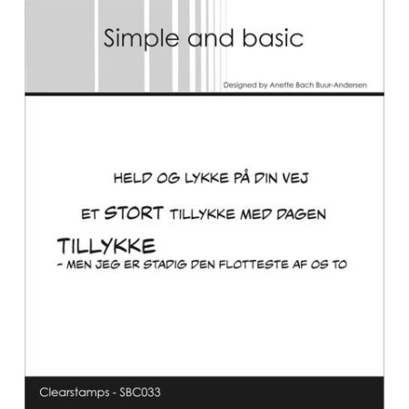 Simple and Basic Stempel - Held og lykke på din vej - SBC033