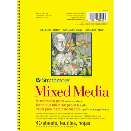 "Strathmore Mixed Media Vellum Spiral Paper Pad 5.5""X8.5"" - 362-5"