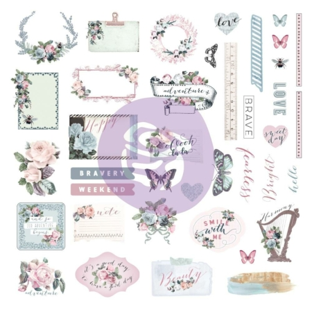 Prima Marketing - Poetic Rose Die-Cut Cardstock & Sticker