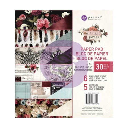 636012 Prima Marketing – Midnight Garden Paper Pad 6″X6″ 636012