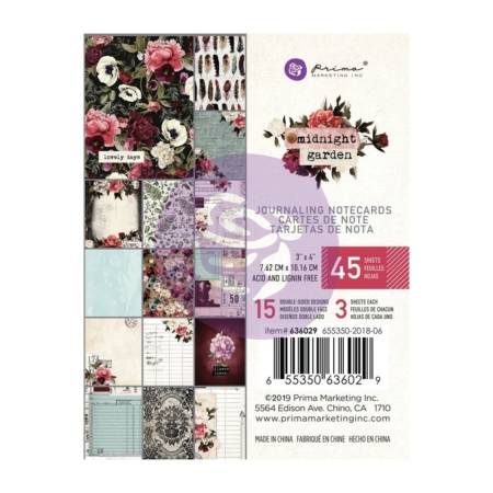 "Prima Marketing - Midnight Garden Journaling Cards Pad 3""X4"" 636029"
