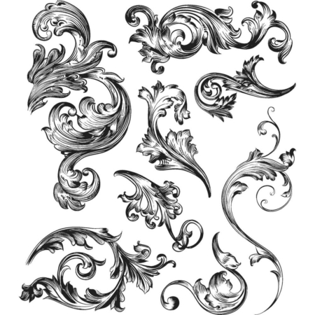 Tim Holtz Cling Stamps set - Scrollwork - CMS367