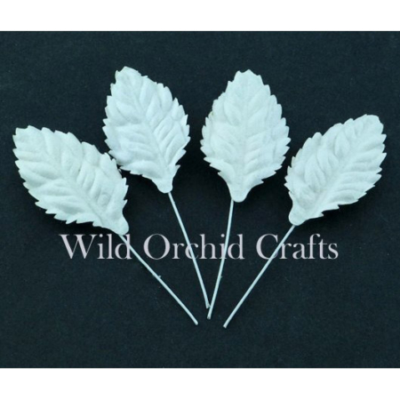 Wild Orchid Crafts - 50 WHITE MULBERRY PAPER LEAVES 1