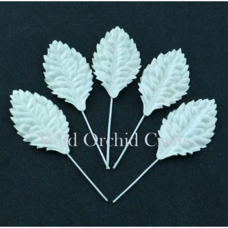 Wild Orchid Crafts - 50 WHITE MULBERRY PAPER LEAVES
