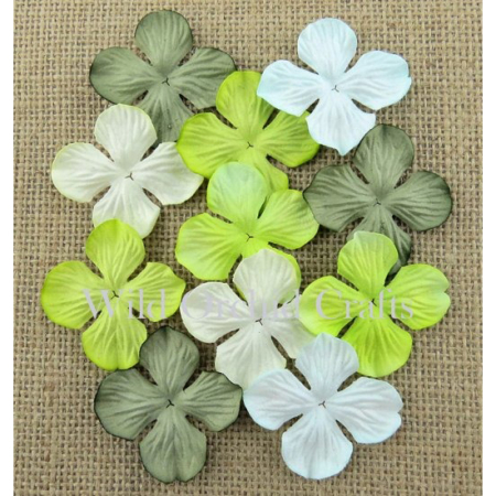 Wild Orchid Crafts - MIXED GREEN TONE HYDRANGEA 25 mm