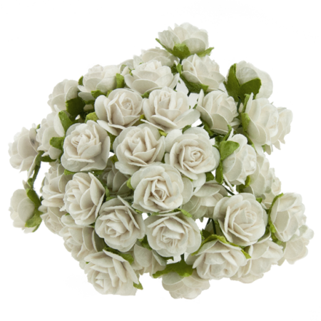 Wild Orchid Crafts - White Mulberry Paper Roses - 15 mm