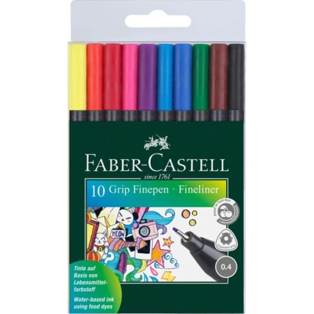 FABER CASTELL - GRIP finepen etui med 10 - 151610