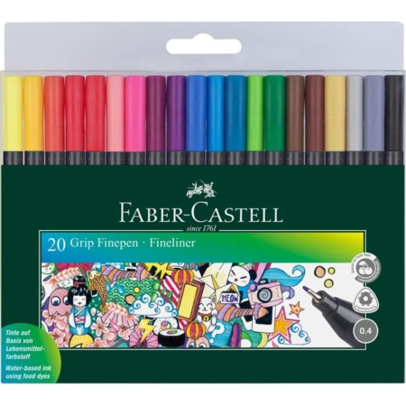 FABER CASTELL - GRIP finepen etui med 20 - 151620