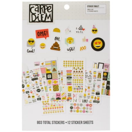 Simple Stories Carpe Diem A5 Tablets Stickers Emoji Love 8024