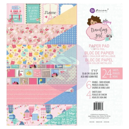 "Prima Marketing Traveling Girl Paper Pad with Foil 12""X12"" 912864"