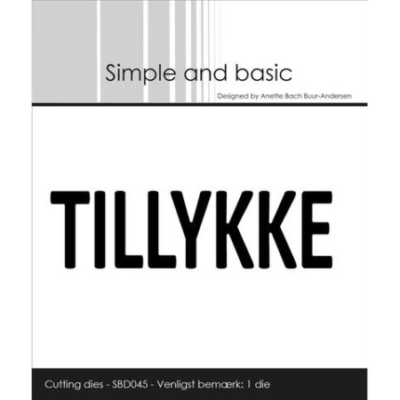 Simple and Basic Dies - Text Plate - TILLYKKE - SBD045