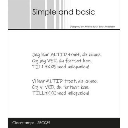 Simple and Basic Stempel - Milepæl - SBC039