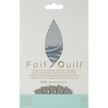 We R Memory Keepers Foil Quill Foil Sheets - Silver Swan - 660668