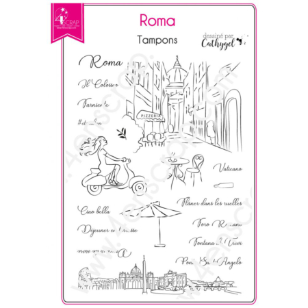 4enscrap Stamp - Capital Italy City - Roma - Set 182