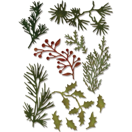 Sizzix Thinlits - Tim Holtz - Mini Holiday Greens - 661597
