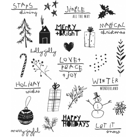 Tim Holtz Cling Stamps set - Seasonal Scribbles - CMS386
