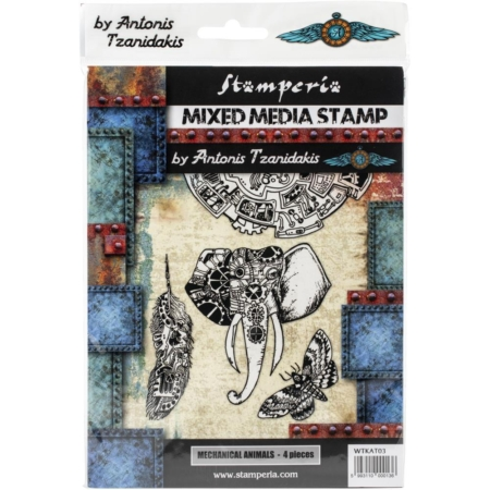 Stamperia Cling Stamp - Mechanical Animals - WTKAT03