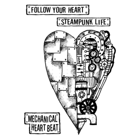 Stamperia Cling Stamp - Mechanical Heart - WTKAT04