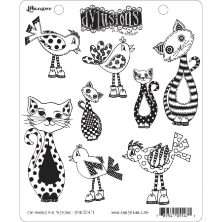 Dyan Reaveley's Dylusions Cling Stamp - Cat Among Pigeons