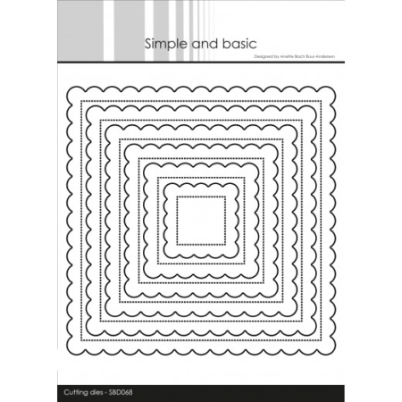 Simple and Basic Dies - Pierced Scalloped Squares - SBD068