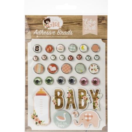 Echo Park Decorative Brads - Baby Girl - BAB202020