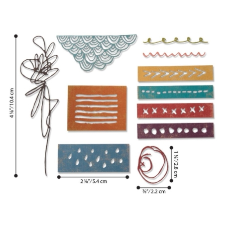 Sizzix Thinlits Tim Holtz - Media Marks - 664436