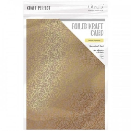 Tonic Studios - Foiled Kraft Card - Golden Blossom - 9341E