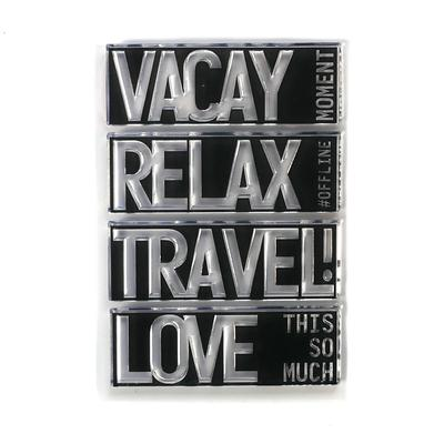 Elizabeth Craft Designs Stamp - Block Words - Travel - CS193